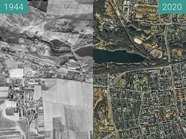Vorher-Nachher-Bild von Jezioro Rusałka i okolice zwischen 13.09.1944 und 2020