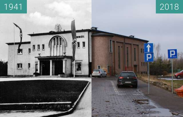 Before-and-after picture of Cinema in Żnin during german occupation  between 1941 and 02/2018
