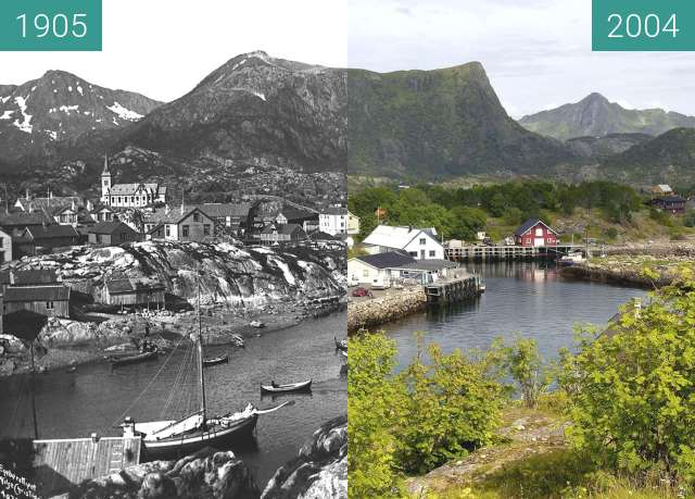 Before-and-after picture of Kabelvåg between 1905 and 2004