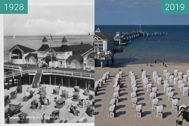Before-and-after picture of Seebrücke Sellin between 1928 and 2019-May-27