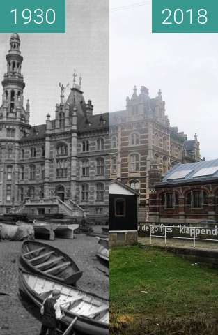 Before-and-after picture of Loodsgebouw/Margueriedok between 1930 and 2018-Apr-02