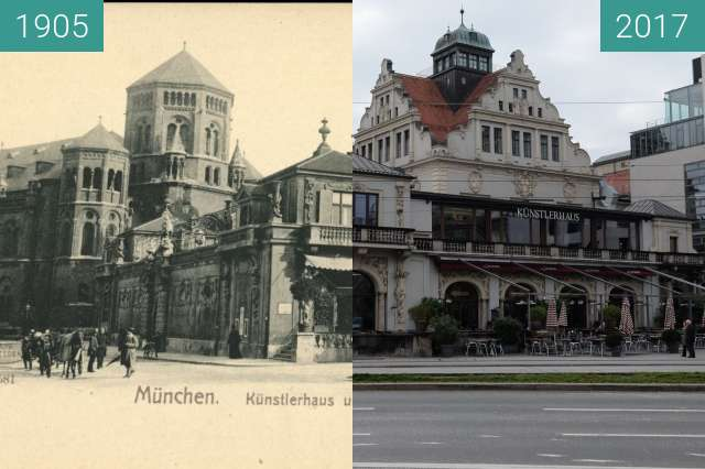 Before-and-after picture of Künstlerhaus München between 1905 and 2017-Oct-07