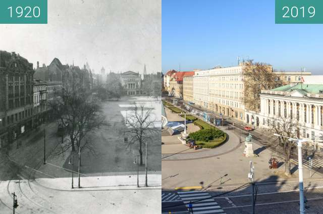 Before-and-after picture of Plac Wolności z hotelu Bazar between 1920 and 2019-Feb-16