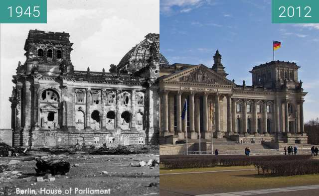 Before-and-after picture of Berlin - Reichstag 1945/2012 between 1945 and 2012