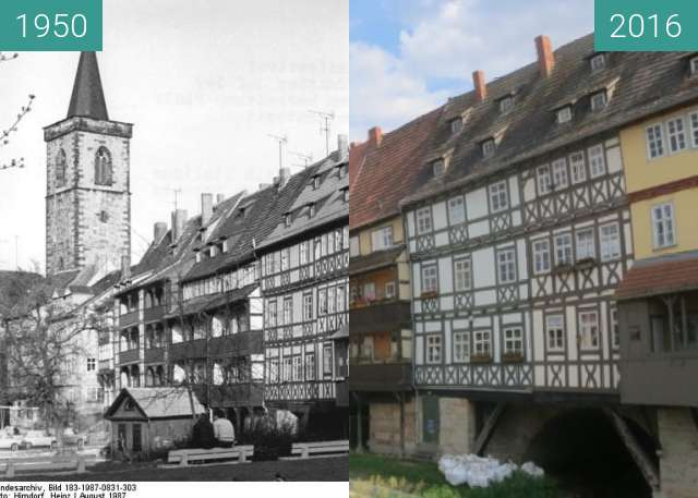 Before-and-after picture of Erfurter Krämerbrücke between 1950 and 2016