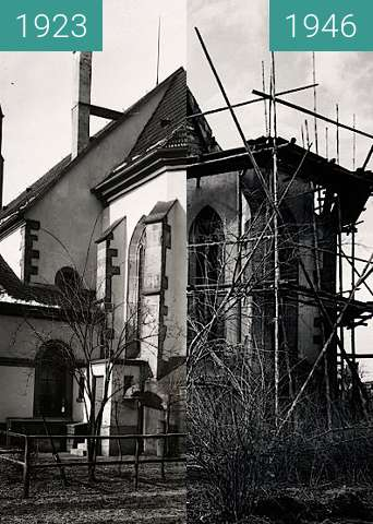Before-and-after picture of Pforzheim Church between 1923 and 1946