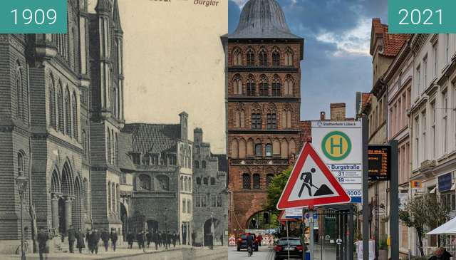 Before-and-after picture of Lübeck, Burgtor between 1909 and 2021-Sep-24