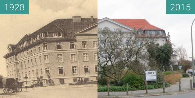 Before-and-after picture of Hebammenlehranstalt between 1928 and 2015-Nov-18