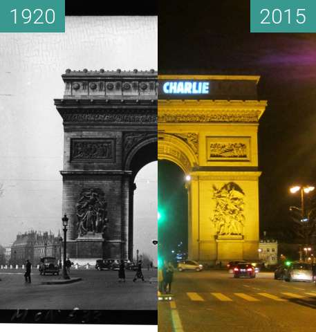 Before-and-after picture of Arc de Triomphe between 1920 and 2015-Jan-10