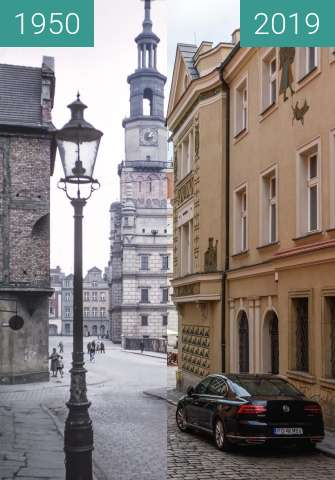 Before-and-after picture of Stary Rynek, Ratusz between 1950 and 2019-May-23