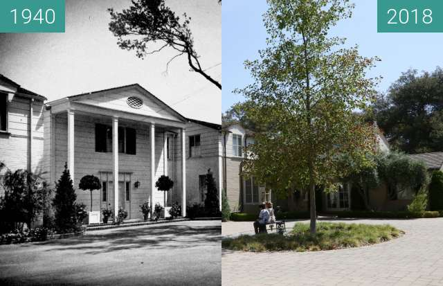 Before-and-after picture of Boddy House between 1940 and 2018-Jul-20