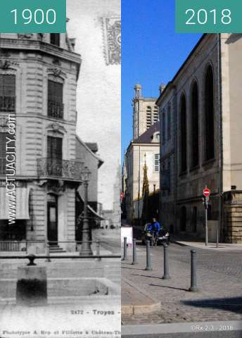 Before-and-after picture of TROYES - Rue de la cité between 1900 and 2018-Feb-25