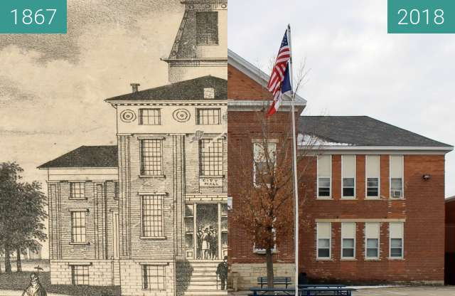 Before-and-after picture of Jackson County Courthouse (Bellevue, Iowa) between 1867 and 2018-Nov-19