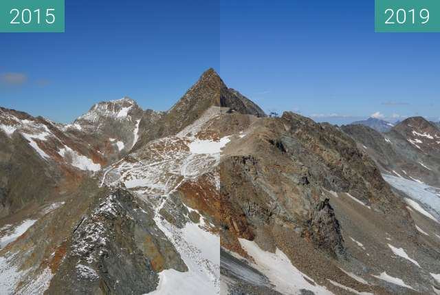 Before-and-after picture of Stubai Top of Tyrol between 2015-Sep-08 and 2019-Aug-27