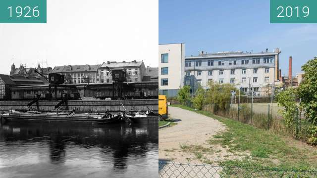 Before-and-after picture of Port rzeczny w starym korycie Warty between 1926 and 2019