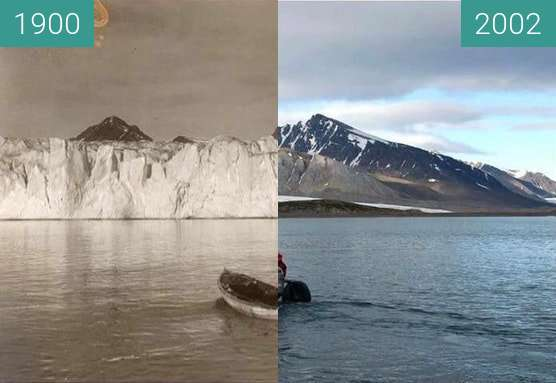 Before-and-after picture of Climate Change in the Arctic between 1900 and 2002