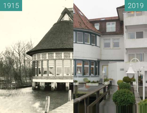 Before-and-after picture of Seehotel Fährhaus in Bad Zwischenahn between 1915 and 2019-Jan-07
