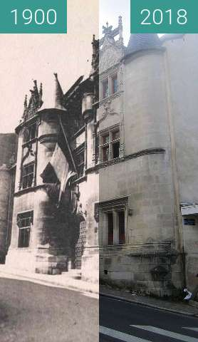 Before-and-after picture of Hôtel Fumé between 1900 and 2018-Jul-18