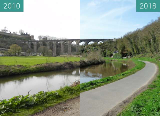 Before-and-after picture of Viaduc de Dinan between 2010-Apr-06 and 2018-Apr-05