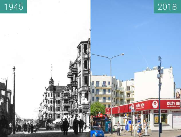 Before-and-after picture of Ulica Garbary between 1945 and 2018