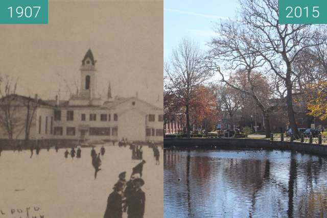 Before-and-after picture of Duck Pond, Milford, Conn. USA between 1907 and 2015