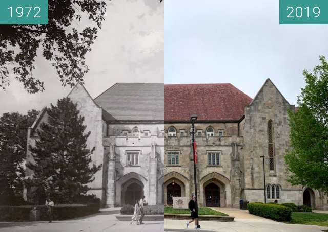 Before-and-after picture of Hoch Auditorium between 1972 and 2019