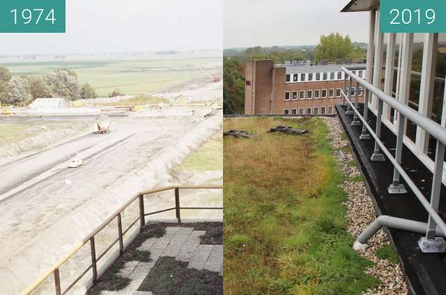 Before-and-after picture of The ring motorway of Alkmaar 1974 - 2019 between 1974 and 2019-Sep-25