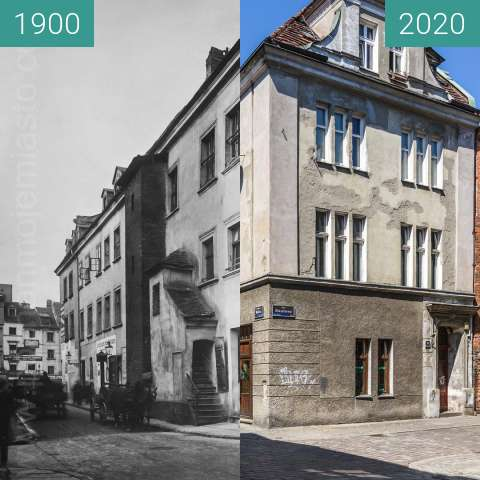 Before-and-after picture of Ulica Woźna between 1900 and 2020-May-06