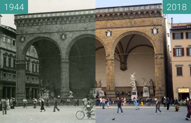 Before-and-after picture of Florence, Italy 1944/2018, Town Hall between 07/1944 and 2018-May-17