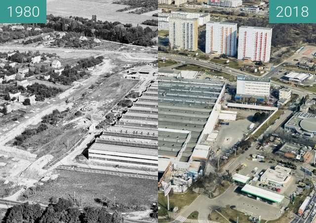 Before-and-after picture of Ulica Wojciechowskiego between 1980 and 2018