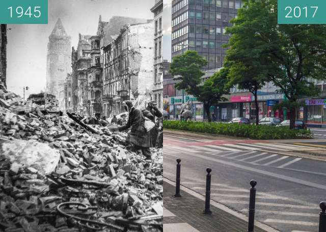 Before-and-after picture of Św. Marcin between 1945 and 2017-Jul-08