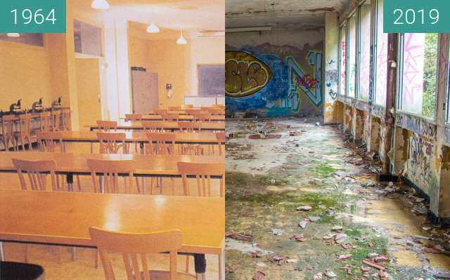 Before-and-after picture of Salle de Travaux Pratiques between 1964 and 2019-Oct-31