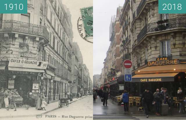 Before-and-after picture of Rue Daguerre between 1910 and 2018-Jan-28