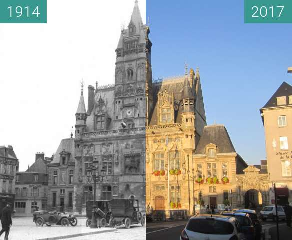 Before-and-after picture of Compiègne Town Hall between 1914 and 2017-Oct-15