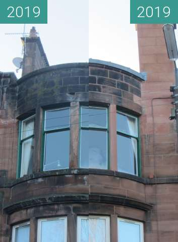 Before-and-after picture of Bow window of 107 Fotheringay Road between 2019-Jan-27 and 2019-Nov-10