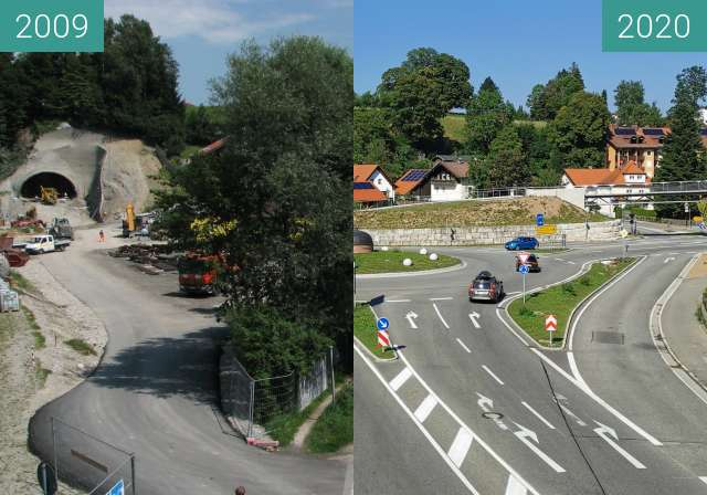 Before-and-after picture of Tunnel Traunstein between 2009-Aug-02 and 2020-Aug-08