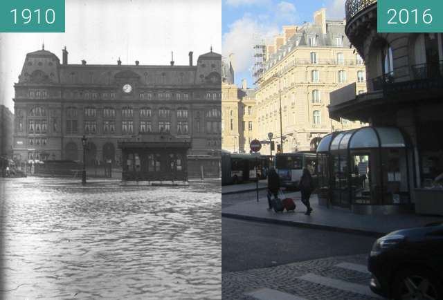 Before-and-after picture of Gare Saint-Lazare (Flood) between 1910-Jan-28 and 2016-Jan-15