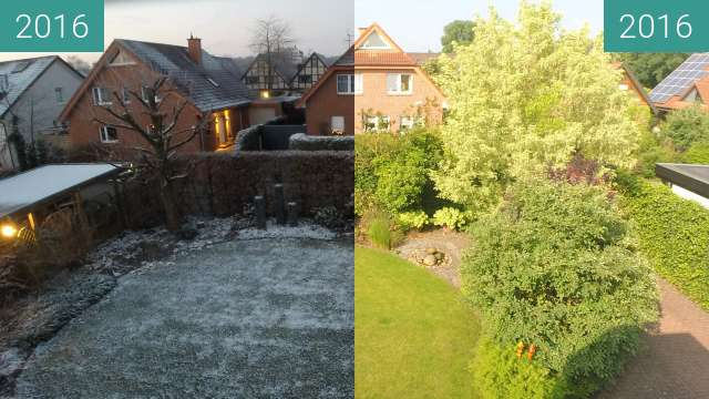 Before-and-after picture of Garten im Winter und im Sommer between 2016-Jan-18 and 2016-Jun-16