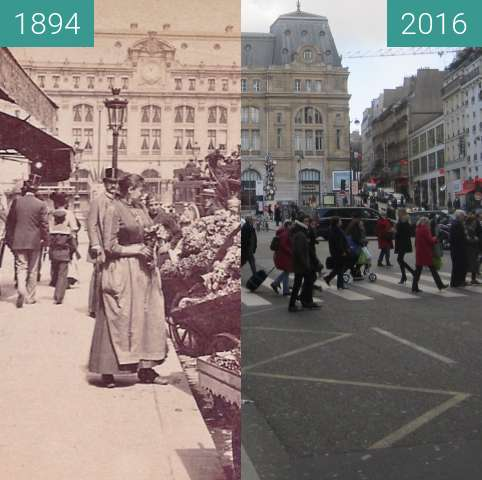 Before-and-after picture of Gare Saint-Lazare between 1894 and 2016-Jan-15