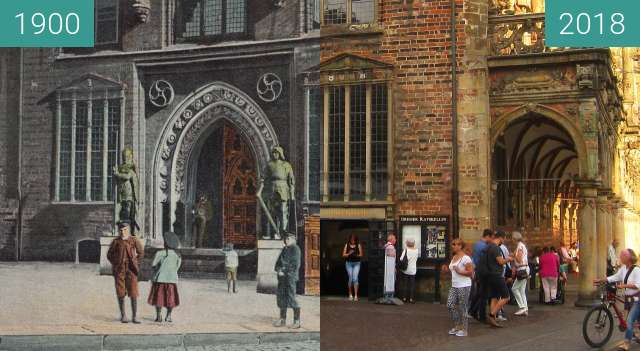 Before-and-after picture of Bremen Ratskeller between 1900 and 2018-Aug-18