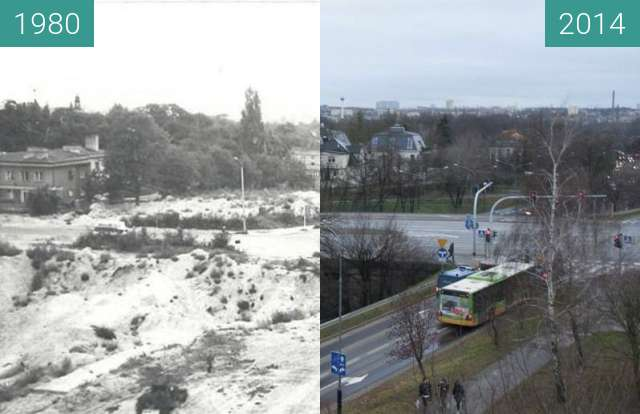 Before-and-after picture of Trasa Niestachowska between 1980 and 2014