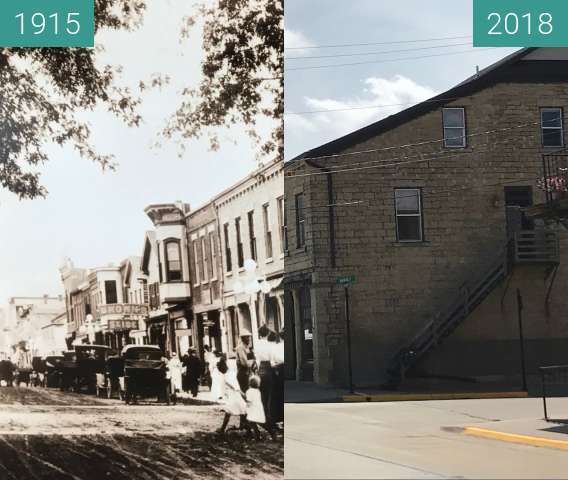 Before-and-after picture of Market & Riverview between 1915 and 2018-Aug-29