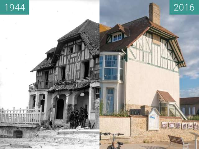 "Before-and-after picture of Villa ""Denise et Roger"" at Juno Beach (1) between 1944-Jun-06 and 2016-Oct-22"