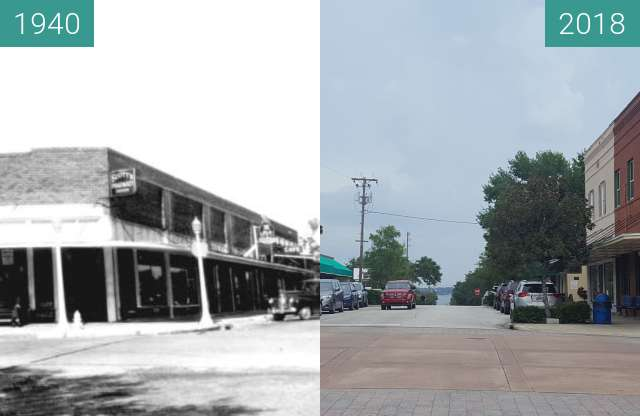 Before-and-after picture of Business District Downtown Clermont, Florida between 1940 and 2018-Aug-14