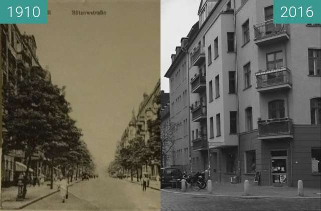 Before-and-after picture of Lippehner-Ecke-Bötzowstr. between 1910 and 2016-Apr-27