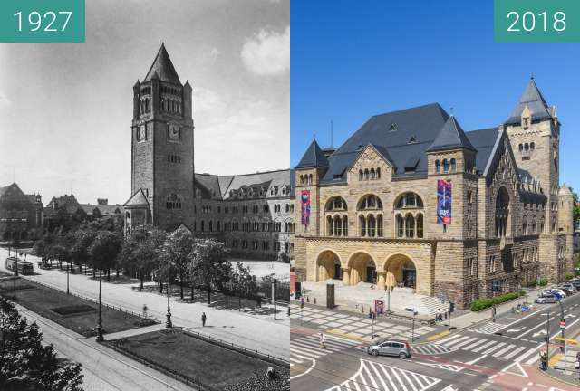Before-and-after picture of Ulica Św. Marcin between 05/1927 and 06/2018