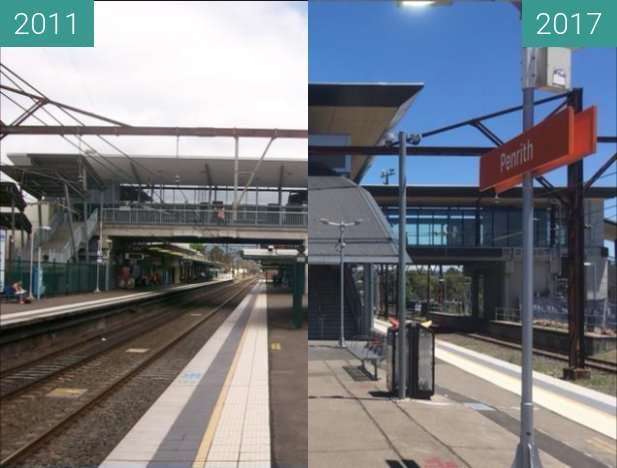 Before-and-after picture of Penrith Railway Station between 2011 and 2017-Nov-25