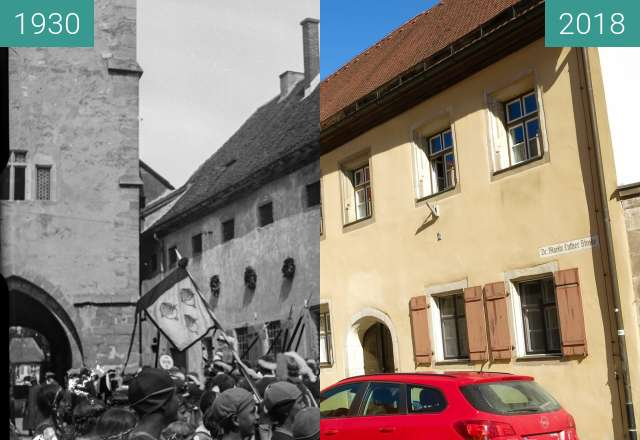 Before-and-after picture of Dinkelsbühl -1920-1940 - Rothenburger Tor between 1930 and 2018-Oct-05