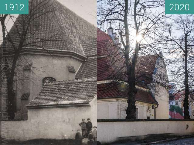 Before-and-after picture of Rynek Śródecki between 1912 and 2020-Apr-04