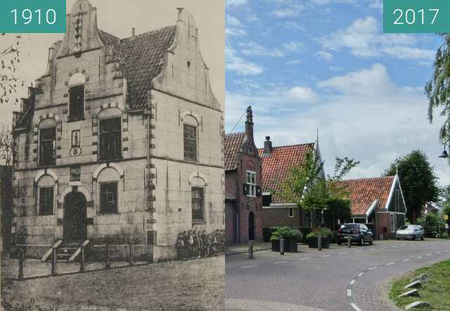 Before-and-after picture of Town hall of Grootschermer between 1910 and 2017-Jul-01